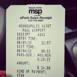 MSP parking receipt